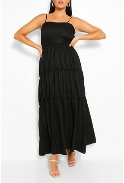 Black Plus Tiered Strappy Maxi Dress
