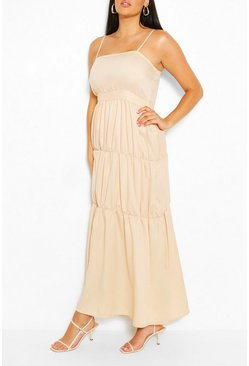 Stone beige Plus Tiered Strappy Maxi Dress