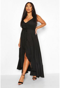 Black Plus Ruffle Tie Front Strappy Maxi Dress