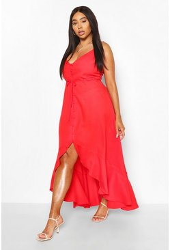 Red Plus Ruffle Tie Front Strappy Maxi Dress
