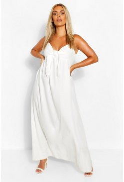 Ivory white Plus Tie Front Strappy Maxi Dress