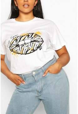 White Plus Mono Lips Graphic T-Shirt