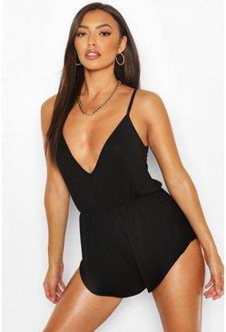 Black Petite Strappy Wrap Front Playsuit