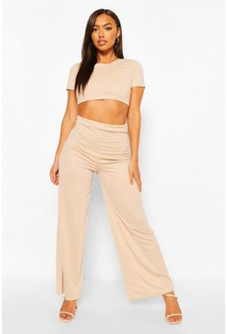 Stone beige Petite Crop Top & Wide Leg Trouser Co-Ord