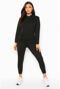 Black Petite Hoody And Jogger Set