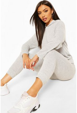 Grey Petite Hoody And Jogger Set