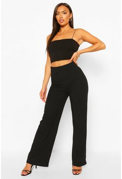 Black Petite Rib Wide Leg Trousers