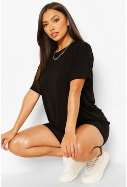 Black Petite T-Shirt And Cycle Short Lounge Set