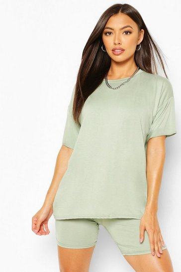 Sage green Petite T-Shirt And Cycle Short Lounge Set