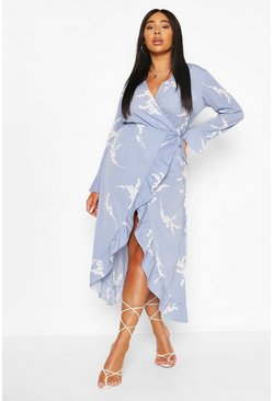 Blue Plus Abstract Florl Wrap Midi Dress