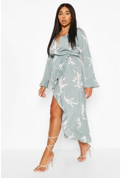Sage Plus Abstract Florl Wrap Midi Dress