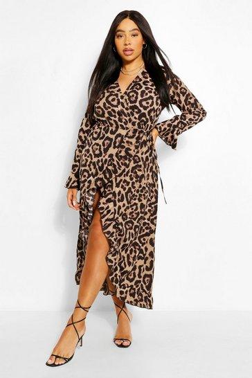 Brown Plus Leopard Ruffle Wrap Midi Dress