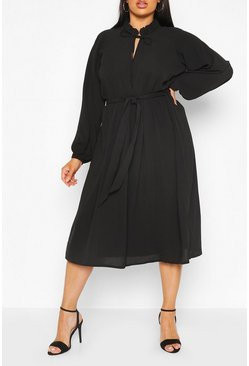 Black Plus Ruffle High Neck Smock Midi Dress