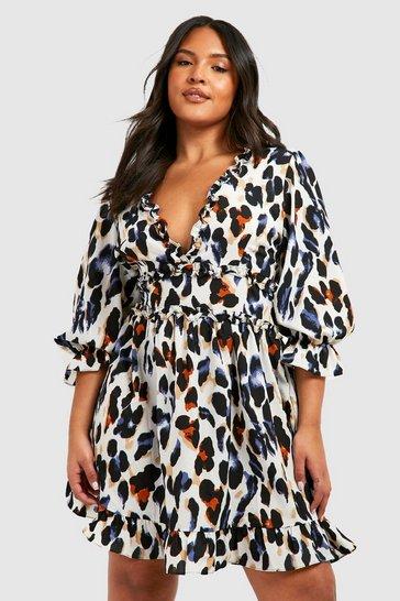 Black Plus Multi Leopard Print Satin Ruffle Skater Dress