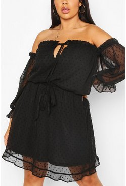 Plus Dobby Mesh Bardot Skater Dress, Black Чёрный