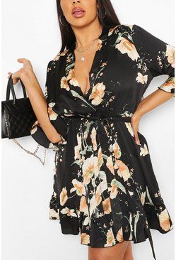 Black Plus Floral Satin Ruffle Skater Dress
