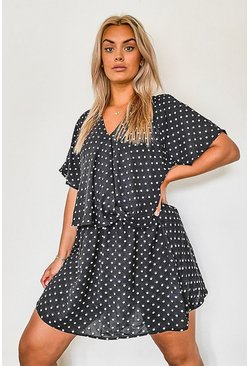 Black Plus Polka Dot Ruffle Open Shoulder Dress