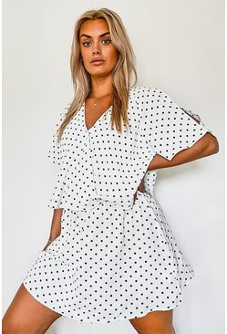 Ivory Plus Polka Dot Ruffle Open Shoulder Dress