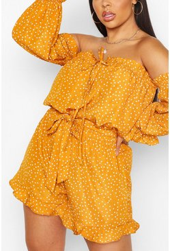 Mosterd yellow Plus Playsuit Met Boothals, Stippen En Ruches