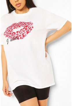 White PLUS J'ADORE LIPS TSHIRT