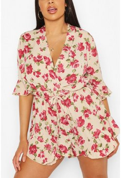 Ivory white Plus Rose Floral Ruffle Tie Playsuit