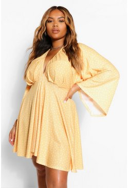 Plus Polka Dot Plunge Kimono Sleeve Skater Dress, Mustard Жёлтый