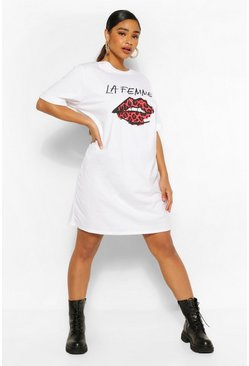 White Plus Lips Slogan Oversized T-Shirt Dress