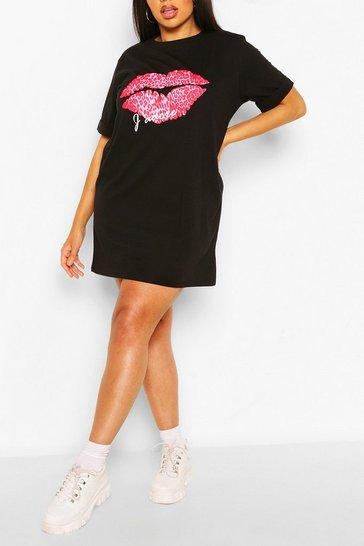 Black Plus J'Adore Lips T-Shirt Dress