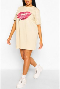 Stone beige Plus J'Adore Lips T-Shirt Dress