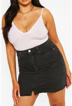 Charcoal grey Plus Denim Mini Skirt
