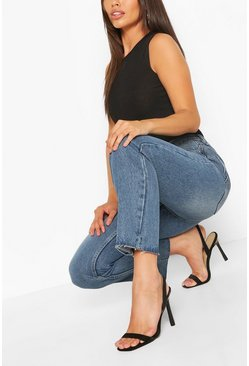 Mid blue Petite High Rise Straight Leg Jeans
