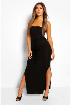 Black Petite Bandeau Belted Maxi Dress