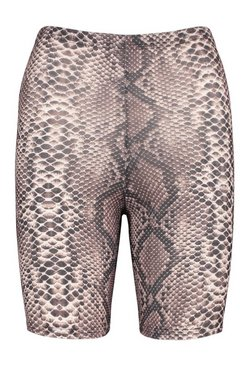 Brown Petite Snake Print Cycle Shorts