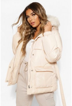 Ivory white Petite Faux Fur Hooded Puffer Jacket