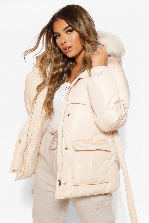 COATS & JACKETS Petite Faux Fur Hooded Puffer Jacket