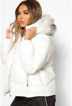 Ivory Petite Faux Fur Hooded Elasticated Puffer Coat