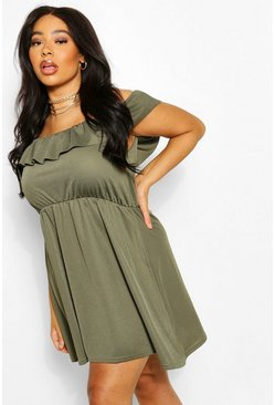 Khaki Plus Off The Shoulder Ruffle Sundress