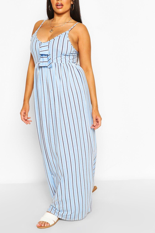 Plus Stripe Knot Frnt Maxi Dress 8