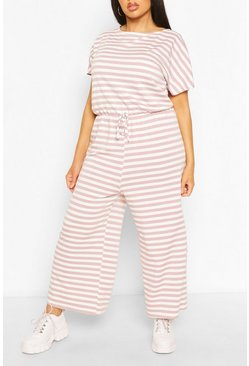 Pink Plus Striped Loopback Wide Leg Jumpsuit