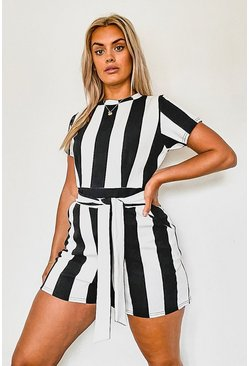 Plus Stripe Cap Sleeve Tie Waist Playsuit , Black Чёрный