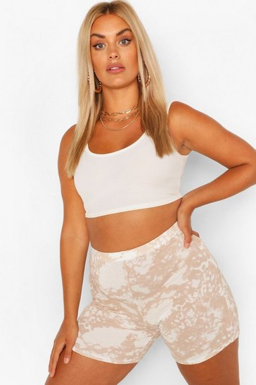 Stone beige Plus Tie Dye Cycle Short
