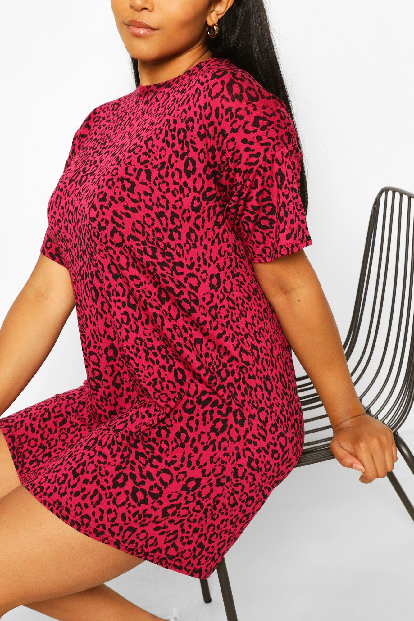 Plus Pink Leopard Oversized Tshirt Dress 6