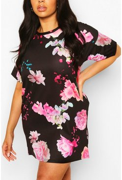 Black Plus Floral Oversized Tshirt Dress