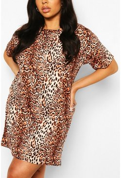 Brown Plus Leopard Oversized Tshirt Dress