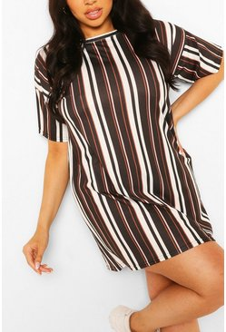 Black Plus Stripe Oversized Tshirt Dress