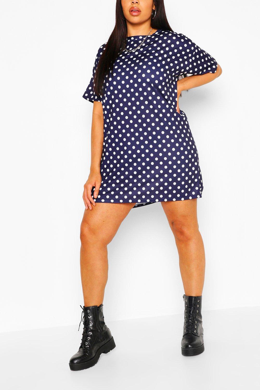 Plus Polka Dot Oversized Tshirt Dress 8