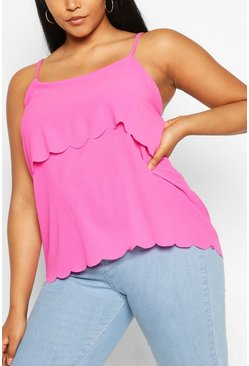 Fuchsia pink Plus Scallop Tiered Cami