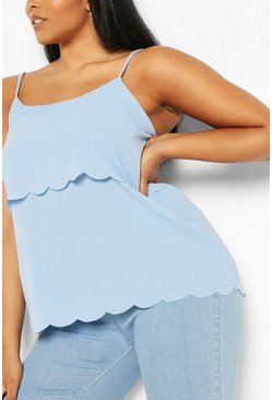 Sky blue Plus Scallop Tiered Cami