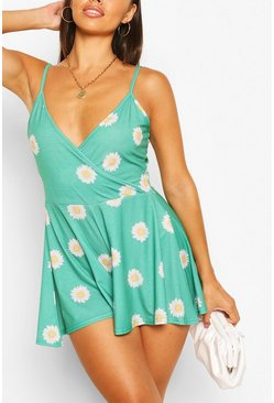 Green Petite Daisy Print Wrap Playsuit