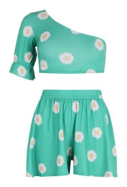 Green Petite Daisy Volume Top and Flippy Short Co-ord